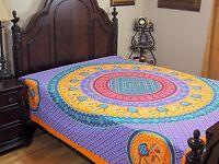 Mauve Yellow Mandala Elephant Bedding Cotton Tapestry Dot Print Bed Sheet Full