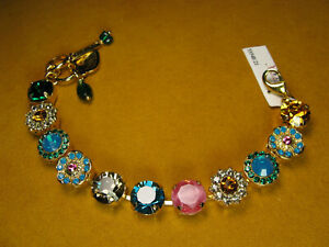 MARIANA BRACELET SWAROVSKI CRYSTALS FLOWER BLUE PINK MULTI COLOR Yellow Gold PL