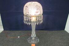 """ABP American Brilliant Cut Glass Mushroom Table Lamp Signed 30"""" Antique Prisims"""