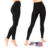 Womens Compression Leggings Black Tummy Control High Waist Pocket Anti-Cellulite