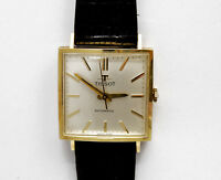 Tissot vintage 1960 squared 18k solid gold automatic new old stock pristine