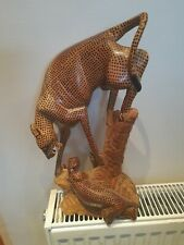 More details for wooden hand carved leopard and two cubs
