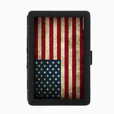 Vintage American Flag D1 Black Cigarette Case / Metal Wallet United States