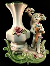 Vintage Bassano Capodimonte Vase with Child Cupid Putto & Flowers Made in Italy
