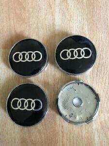 4x Audi Wheel Centre Cap Alloy Hub New Set of 4 Center Caps 60mm Black/Silver