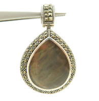 Vtg Sterling Silver/925 Black Mother of Pearl w/Marcasite Accents Dangle Pendant