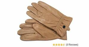 Ladies Tan Leather Gloves From Lorenz  With  Button Fastening L New