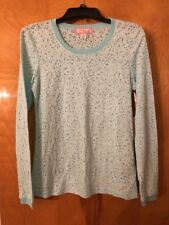 Womens Koi by Kathy Peterson Long Sleeve W/Sheer Cool Blue Top Size S NWT NICE