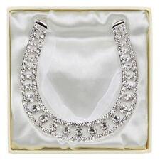 Silver Plated Diamante Set Wedding Lucky Horseshoe