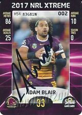 ✺Signed✺ 2017 BRISBANE BRONCOS NRL Card ADAM BLAIR