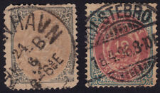 /DENMARK 1875-1879 2 stamps - 12o USED SECONDS/postmark interests @PM078