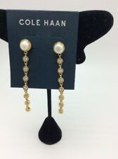 $58 Cole Haan gold tone pearl and crystal linear drop earrings #10
