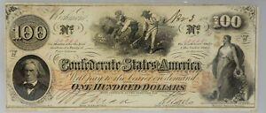 PMG Choice AU 58 Confederate States of America $100 Note 1862-63