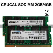 Crucial 2GB/4GB DDR2 DDR3 800MHz/1333MHz 200/204pin Laptop SODIMM Memory RAM is Lot