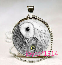 Yin Yang Owl Necklace Jewelry Zen Nature Art Pendant with silver Chain #552