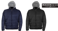 Men's Slim Fit Lightweight Zip Insulated Puffer Hooded Jacket By Mason & Co.