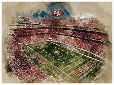 """San Francisco 49ers Poster Watercolor Art Print Man Cave Decor 12x16"""""""