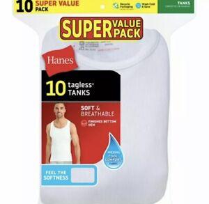 NEW Hanes Men's Comfort Soft Super Value 10pk Pack Tank Top - White Tanks Size L