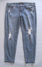 Lucky Brand Skinny Jeans Size 14 32 Charlie Distressed Light Denim Raw Hem 29""