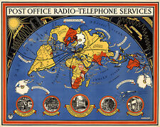 World Map Post Office Radio Telephone Services Ham Operators Gift Wall Poster
