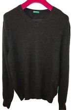 United Colors Of Benetton Mens Medium 100% Wool Lana V-neck Jumper Pullover Brwn