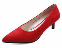 LADIES RED SLIP-ON KITTEN LOW-HEEL SMART WORK CASUAL COMFY COURT SHOES SIZES 3-9