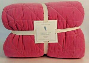 NWT Pottery Barn Kids Corduroy Cozy plush quilt full queen FQ f/q, pink