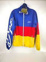 DOPE Jacket Windbreaker Full Zip Spell Out Logo Red Blue Yellow Size Large