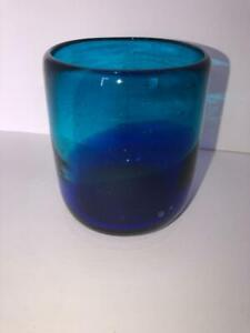 Single Crate & Barrel Salud Azul Blue Tumbler Drinking Glass Hand Made 13 oz.