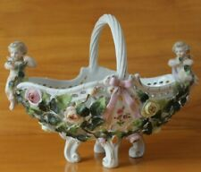 ANTIQUE  SITZENDORF CHERUB & FLOWER BASKET  C1890 GERMAN PORCELAIN