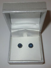 Sterling Silver New in Box 7mm Rhinestone Fireball Earrings Dark Blue Pierced