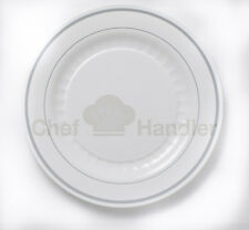 Bulk, Dinner / Wedding Disposable Plastic Plates + Silverware, White/Silver Rim