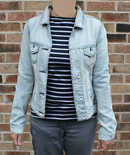 Gio-Goi Distressed Look/Faded Pale Blue Denim Jacket XS