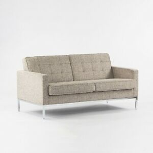 2014 Florence Knoll Studio Two Seater Sofa Settee Loveseat Tan Fabric Upholstery