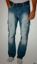 Mens HENLEYS Slim Jeans with Belt - Blue Lightwash - W32 L34 RRP £59.99
