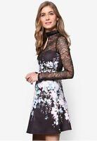 New Lipsy Black Floral Lace Yoke & Long Sleeve Skater Dress Sz UK 10 14
