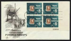 #1474 8c Stamp Collecting-Plate Block, Art Craft FDC **ANY 5=FREE SHIPPING**