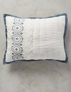 NEW pair of ANTHROPOLOGIE Calvina Collection Standard SHAM Crinkled Cotton