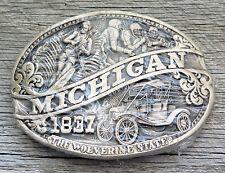 Michigan The Wolverine State 1837 Brass Vintage Belt Buckle