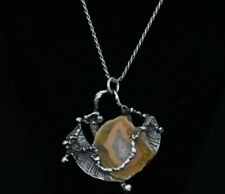 EXQUISITE STERLING SILVER NECKLACE - 22 INCH - WITH AGATE PENDANT LARGE
