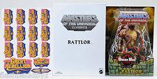 2012 Rattlor MOTU MOTUC Masters of the Universe Classics + Sticker Sheet MOC