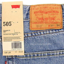Levis 505 Jeans New Size 34 x 34 LIGHT STONEWASH Mens Straight Leg Zip Fly #779