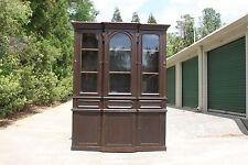Fabulous Walnut Victorian Triple Door Breakfront Bookcase China Cabinet Ca.1870