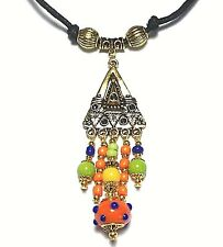 Vintage Style Glass Bead Chandelier Choker Necklace Adjustable Cord Orange Green
