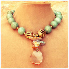 EARTH STATEMENT NECKLACE QUARTZ AGATE AMBER Handmade Pendant Seafoam Stone Gems