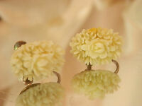 Sweet Vintage 1940's Celluloid Rose Flower Screw Back Earrings XX Lovely 294my7