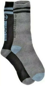 Timberland Striped Ribbed Crew Socks 2 Pairs One Black One Gray, New