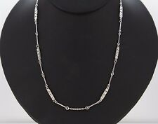 $3,850 Vintage 18K White Gold Round Diamond Double Sided Milgrain Bar Necklace