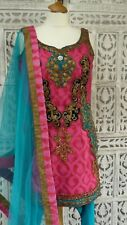Pink brocade & bright blue churidaar suit Bollywood UK 10 EU 36 BN SKU15235