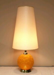 Vintage Spaghetti Table Lamp Orange Spun Plastic Retro Mid Century Modern WORKS!